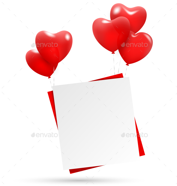Heart Balloons Holding Paper - Backgrounds Decorative
