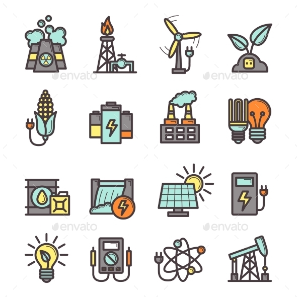 Energy Icons Set - Technology Icons
