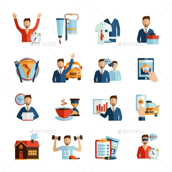 Man Daily Routine Icons - Miscellaneous Vectors