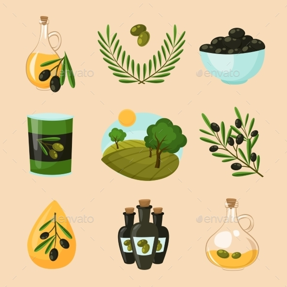 Olive Icons Set - Food Objects