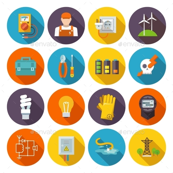 Electricity Icon Flat - Technology Icons
