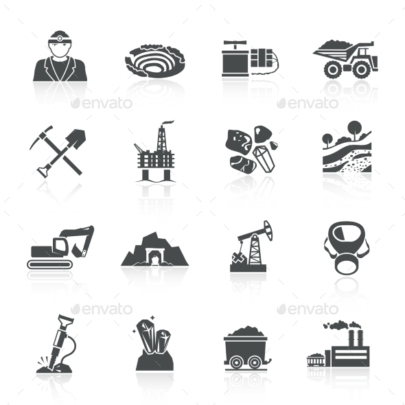 Mining Icons Black - Web Elements Vectors