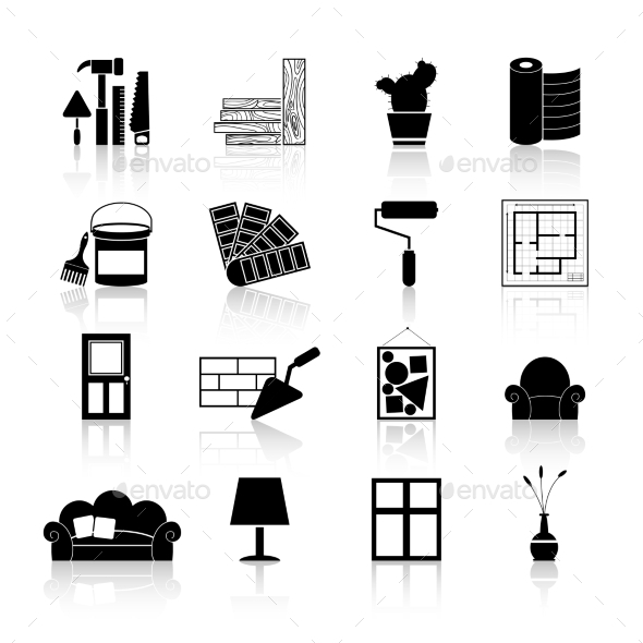 Interior Design Icons Black by macrovector GraphicRiver
