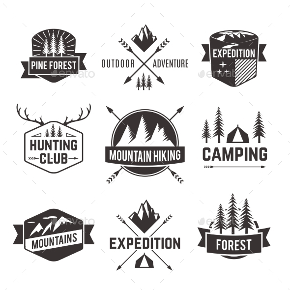 Tourism Emblems Labels Set - Nature Conceptual