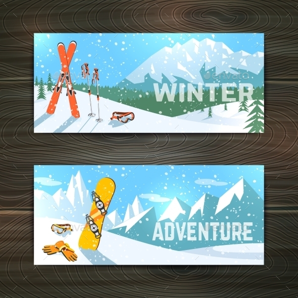 Winter Sport Tourism Banners Set - Miscellaneous Seasons/Holidays