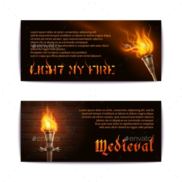 Torch Banners Set - Miscellaneous Vectors