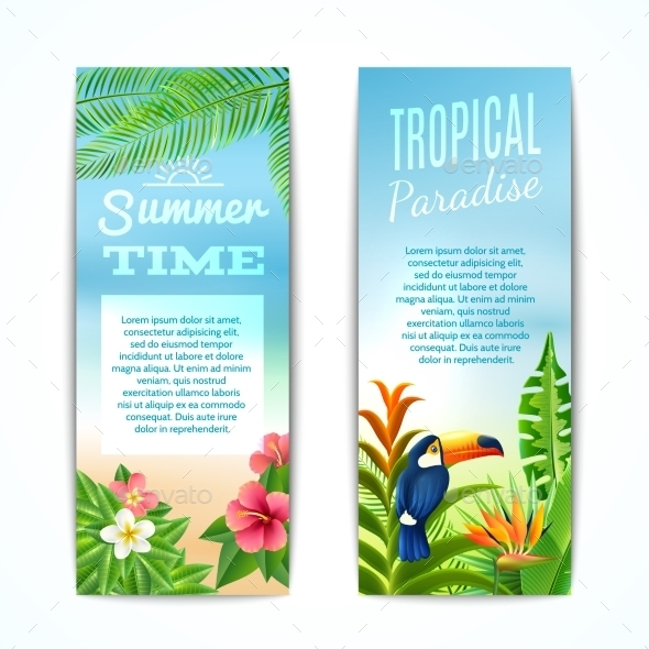 Tropical Summer Banner - Flowers & Plants Nature