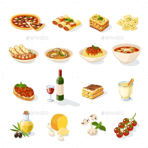 Italian Food Set - Food Objects