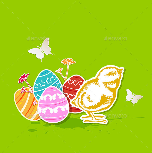 Green Easter Background with Chicken - Miscellaneous Seasons/Holidays