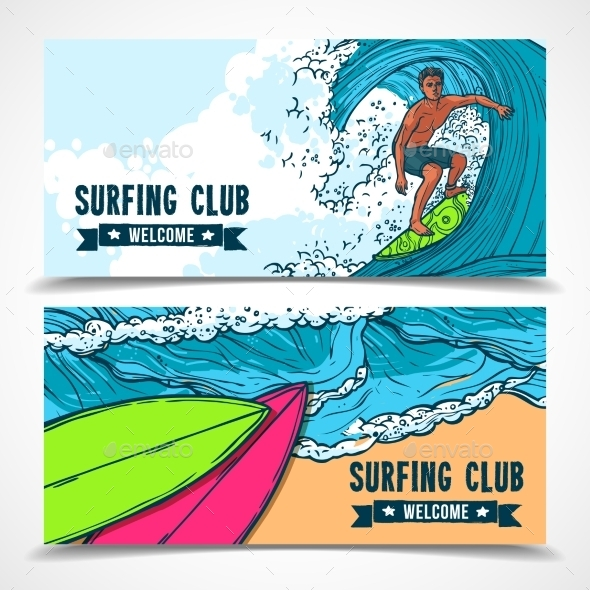 Surfing Banners Set - Sports/Activity Conceptual