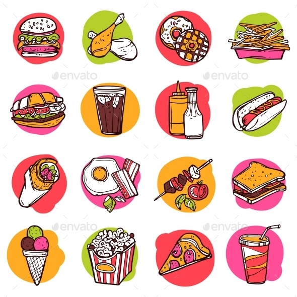 Fast Food Icon Set - Food Objects