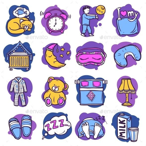 Sleep Time Icons - Abstract Conceptual