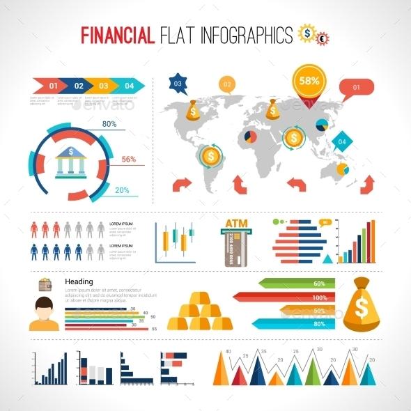 Finance flat infographic - Infographics