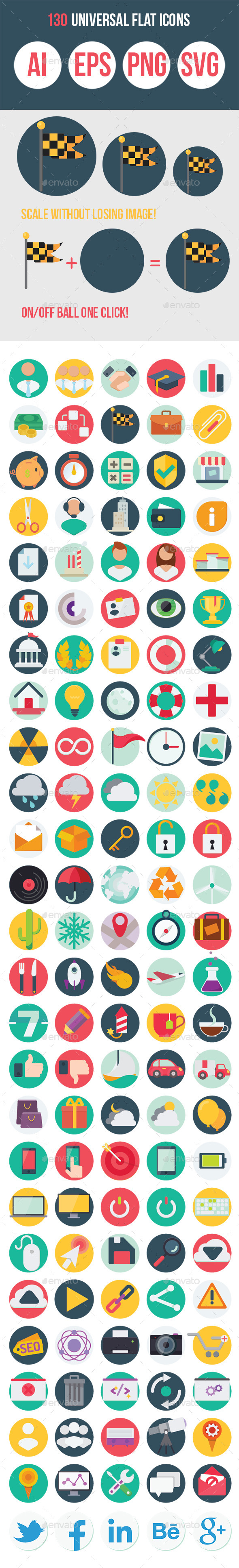130 Universal Flat Icons - Miscellaneous Icons