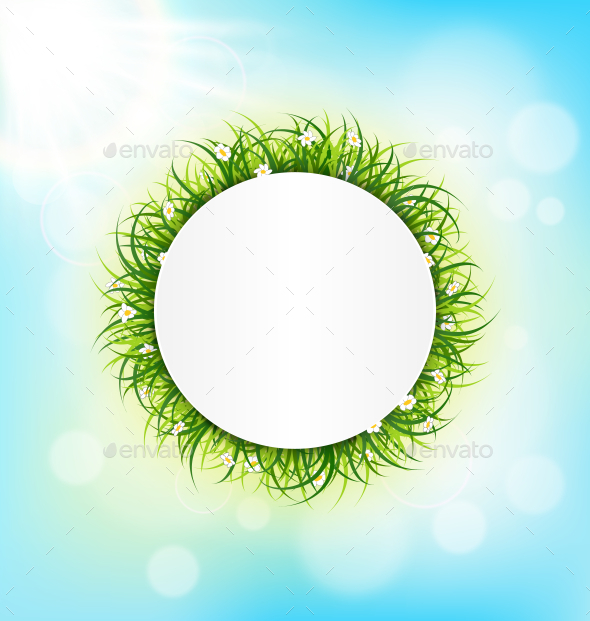 Circle Frame with Green Grass - Backgrounds Decorative