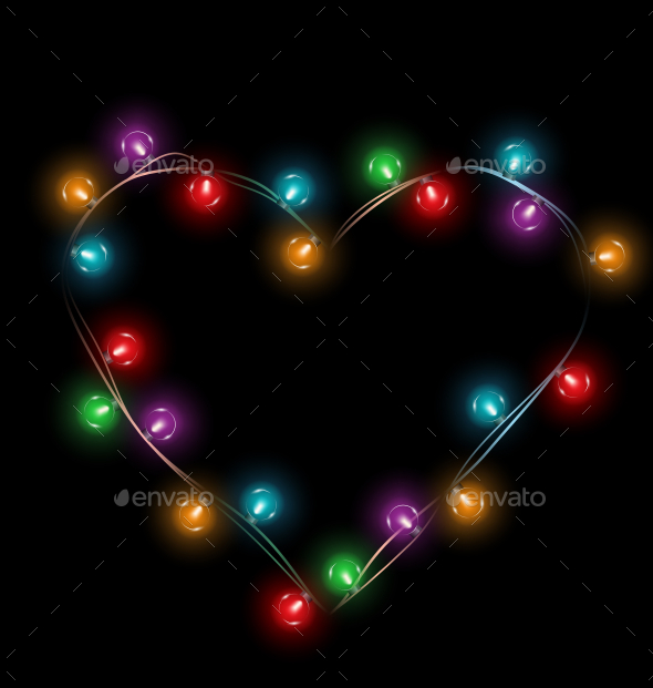 Multicolored Glassy Lights Like Heart Frame - Valentines Seasons/Holidays