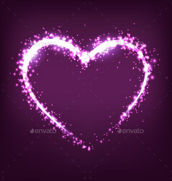 Sparkling Heart on Violet Background - Valentines Seasons/Holidays