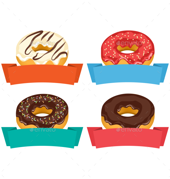 Four Donuts with Frames for Text Isolated on White - Food Objects