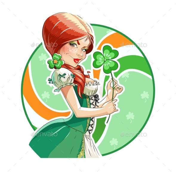 Beautiful Girl with Shamrock for Saint Patricks - Miscellaneous Seasons/Holidays