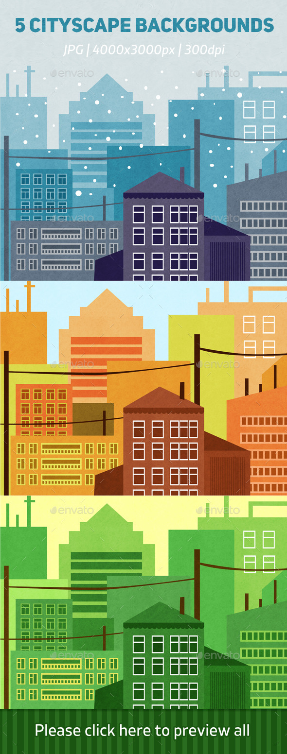 5 Cityscape Backgrounds - Backgrounds Graphics