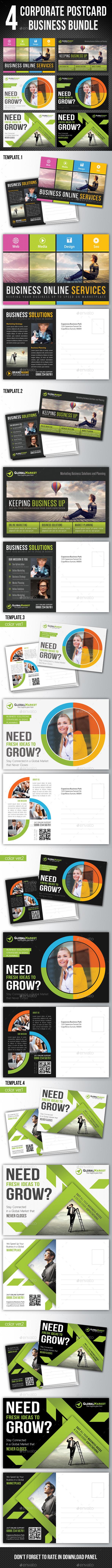 4 in 1 Corporate Business Postcard Bundle V01 - Cards & Invites Print Templates
