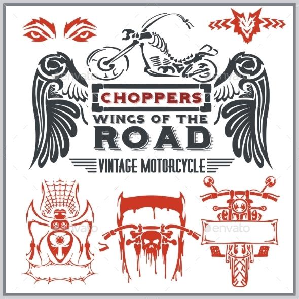 Vintage Motorcycle Labels - Decorative Symbols Decorative