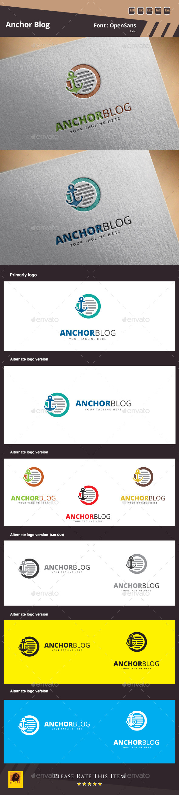 Anchor Blog Logo Template - Symbols Logo Templates