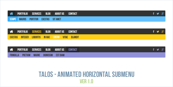 Talos - Animated Horizontal Submenu - CodeCanyon Item for Sale