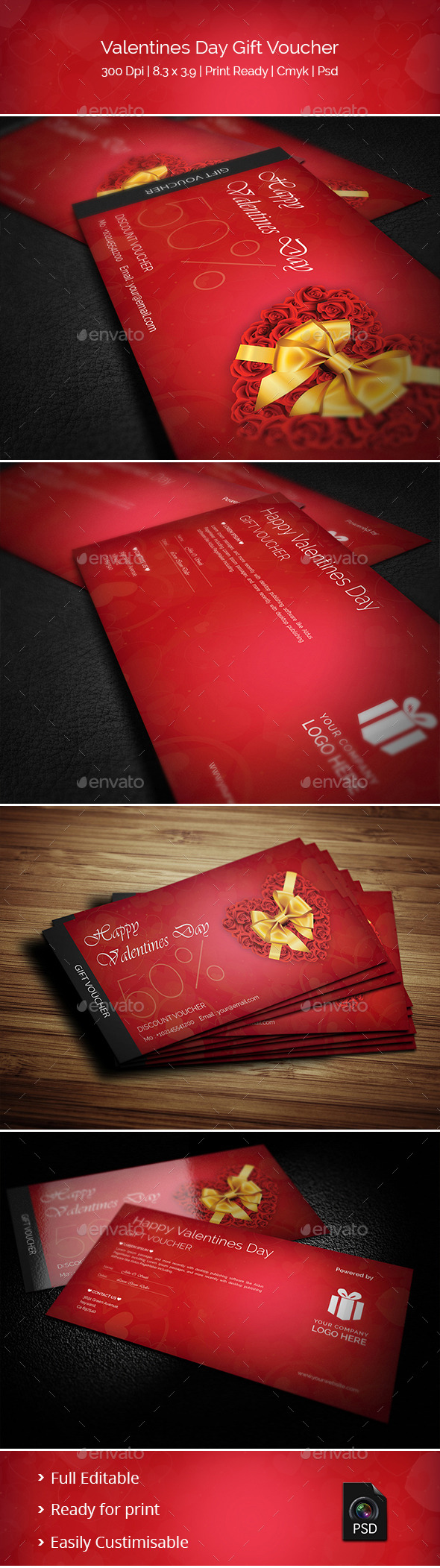 Creative Valentines Day Gift Voucher - Cards & Invites Print Templates