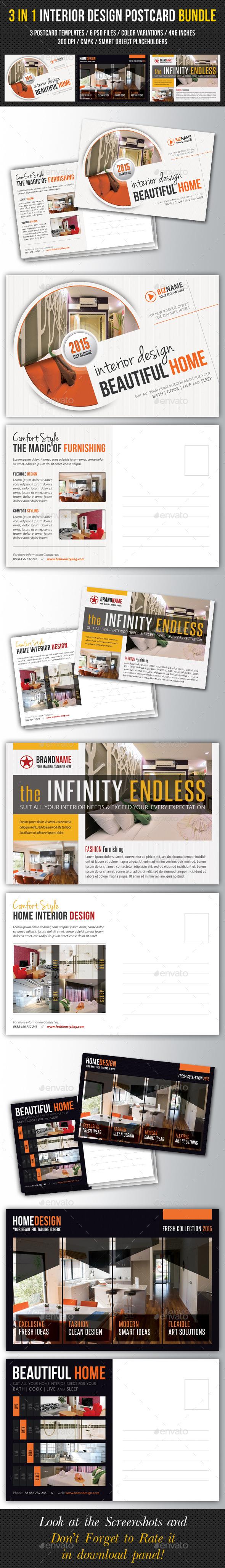 3 in 1 Interior Design Postcard Template Bundle 01 - Cards & Invites Print Templates