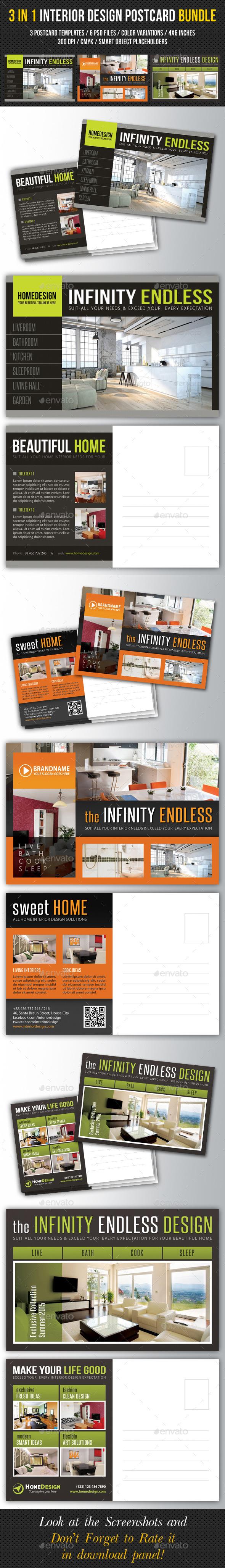 3 in 1 Interior Design Postcard Template Bundle 02 - Cards & Invites Print Templates