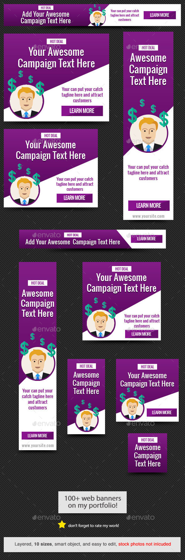 Purple Power Web Banner - Banners & Ads Web Elements