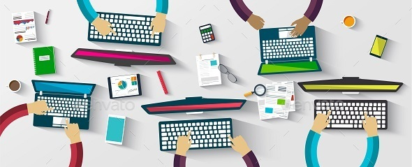 Group of People Working at a Computer - Concepts Business