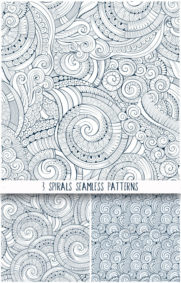 3 Spiral Seamless Pattern - Patterns Decorative