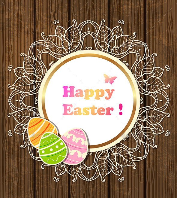 Easter Banner with Lace and Eggs  - Miscellaneous Seasons/Holidays