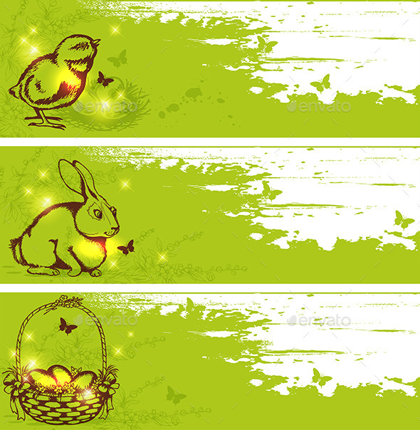 Green Easter Horizontal Banners - Miscellaneous Seasons/Holidays