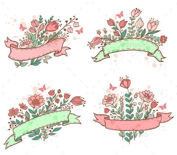 Hand Drawn Floral Banners - Flowers & Plants Nature
