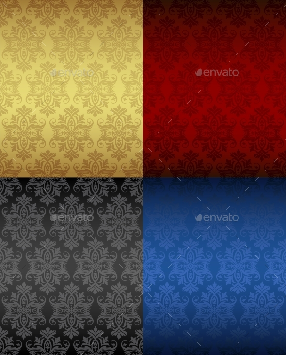 Four Luxury Seamless Floral Patterns - Patterns Decorative