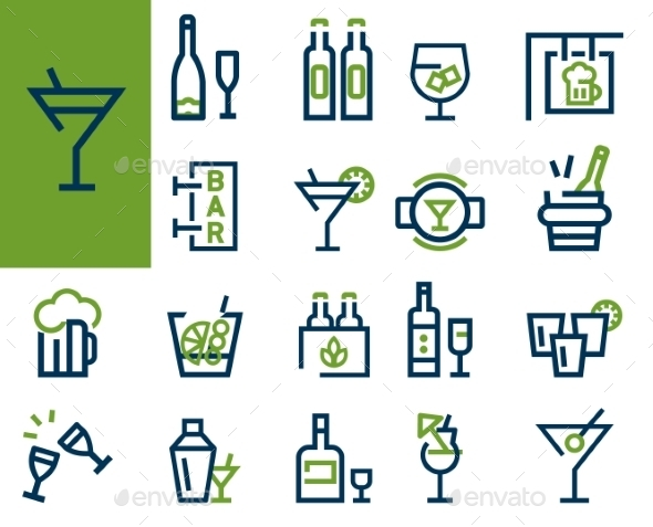 Drink Alcohol Beverage Icons Set - Food Objects