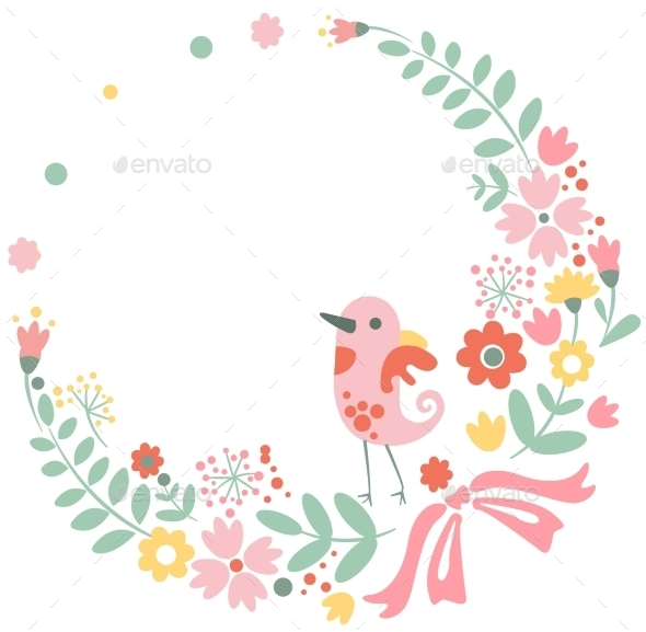 Vintage Floral Background with Cute Bird in Pastel - Flowers & Plants Nature