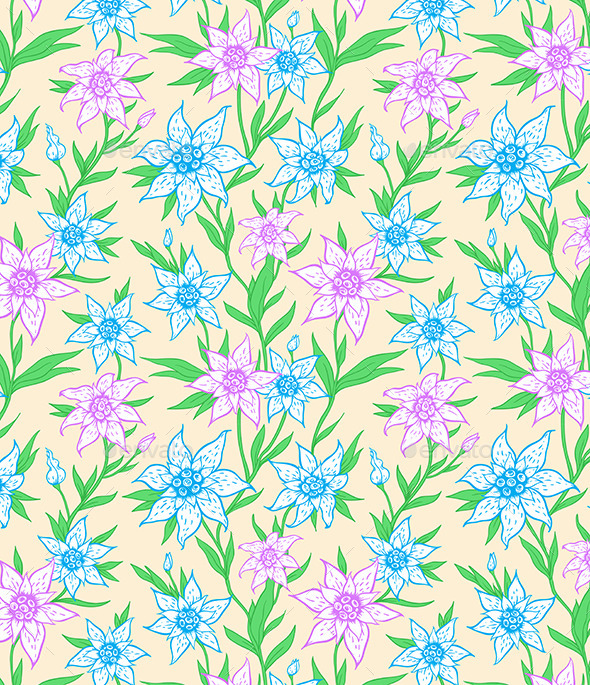Pattern with Blue Flowers and Leaves - Patterns Decorative