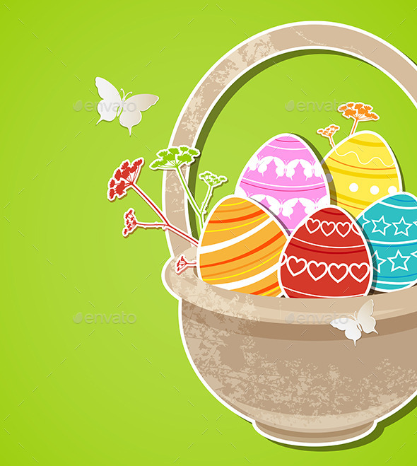Easter Background with Eggs in Basket - Miscellaneous Seasons/Holidays