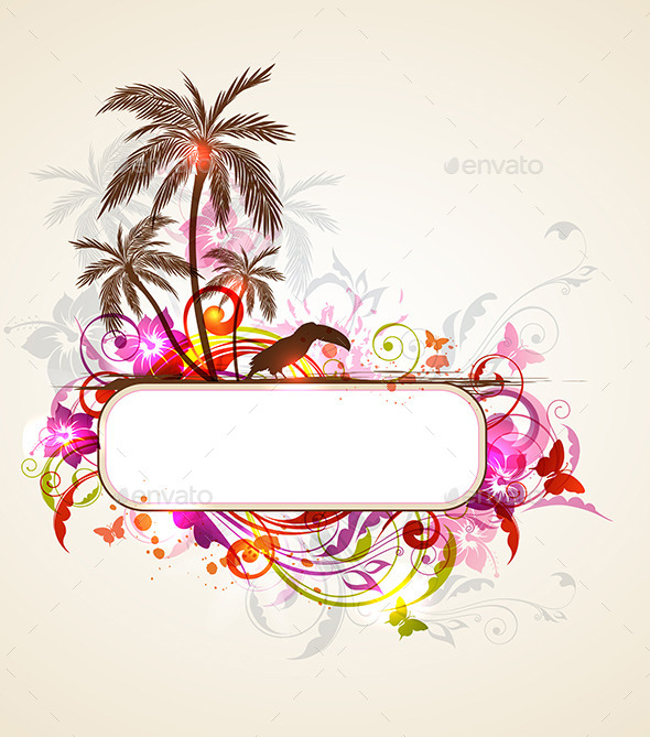 Tropical Banner with Palms and Toucan - Seasons Nature