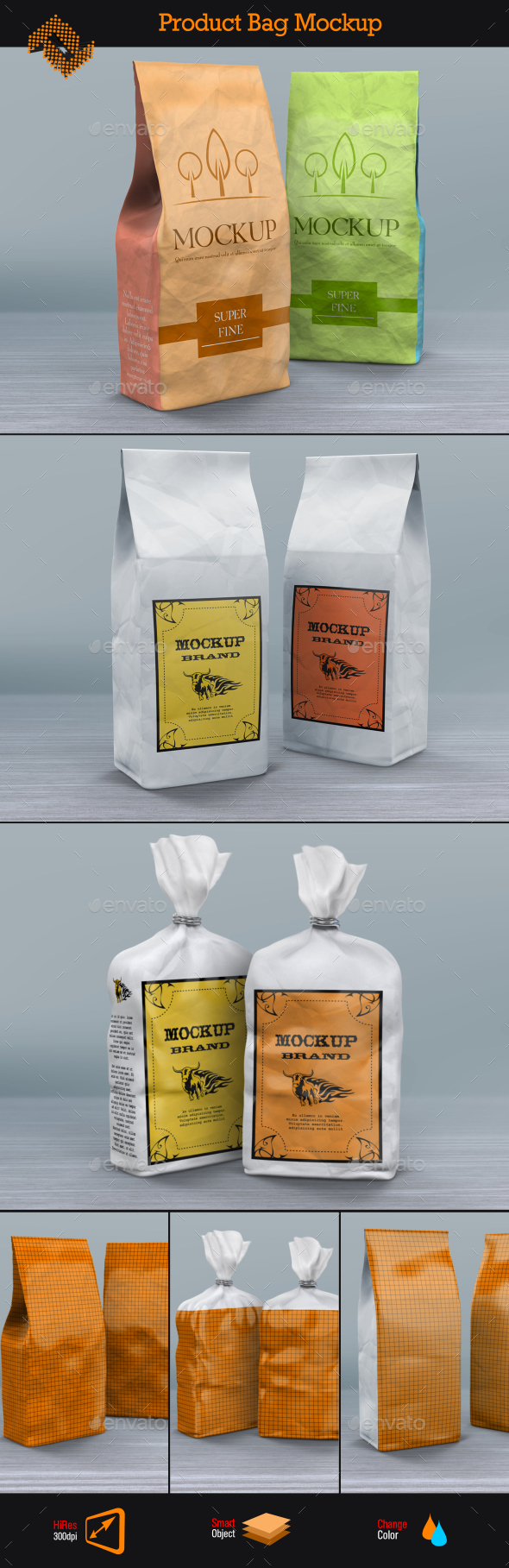 Product Paper Bags Mockup - Food and Drink Packaging