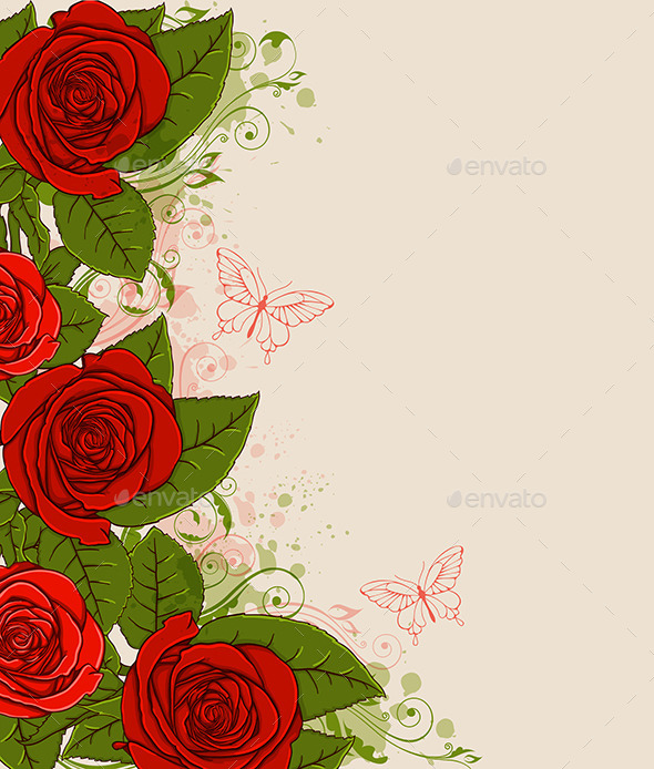 Red Roses and Butterflies - Flowers & Plants Nature