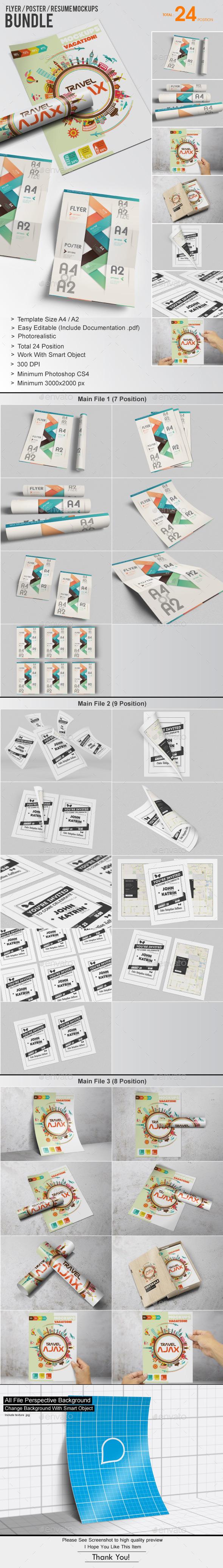 Flyer / Poster / Resume Mockups Bundle - Flyers Print