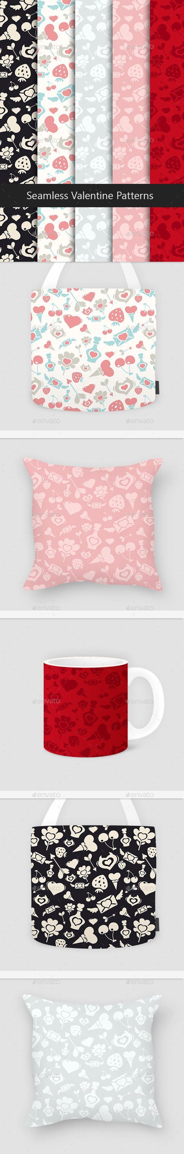 Seamless Valentine Patterns Set - Patterns Decorative