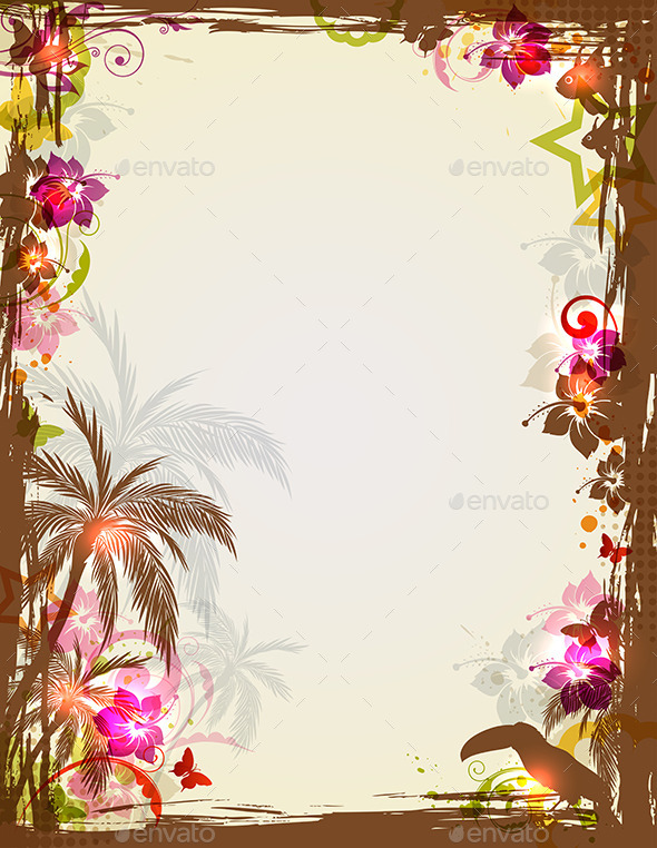 Tropical Frame with Palms and Toucan - Backgrounds Decorative
