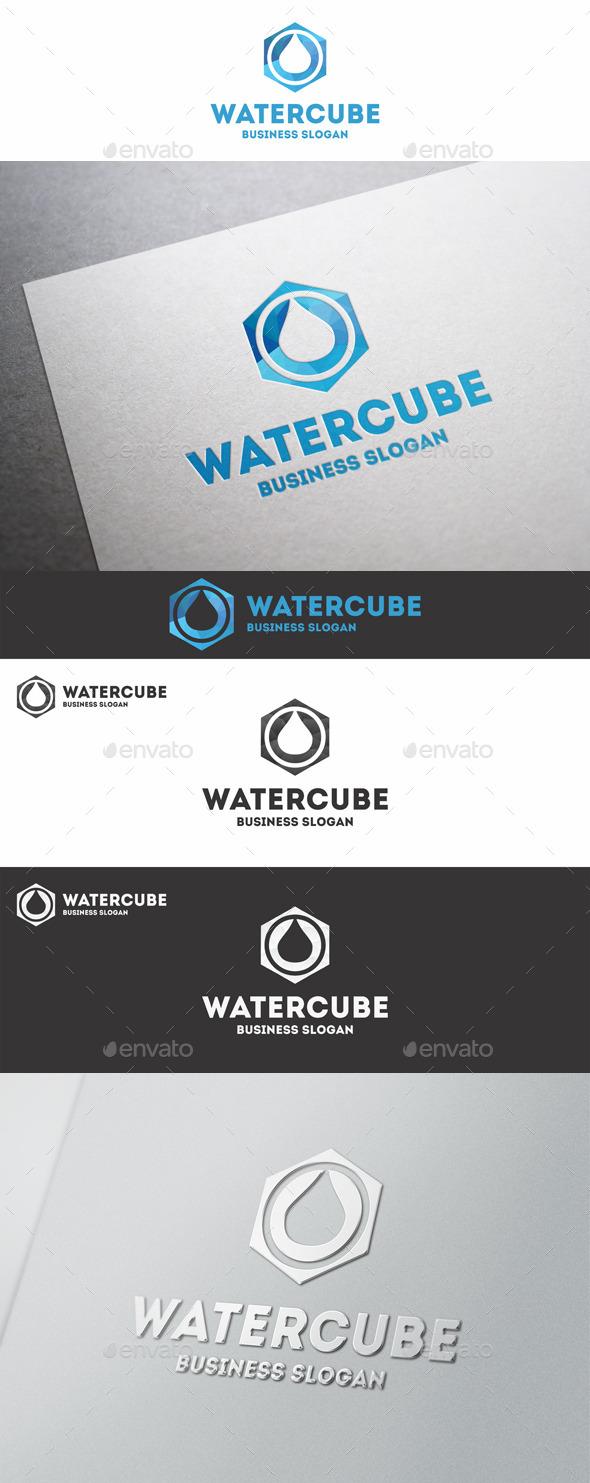Water Cube Polygon Logo