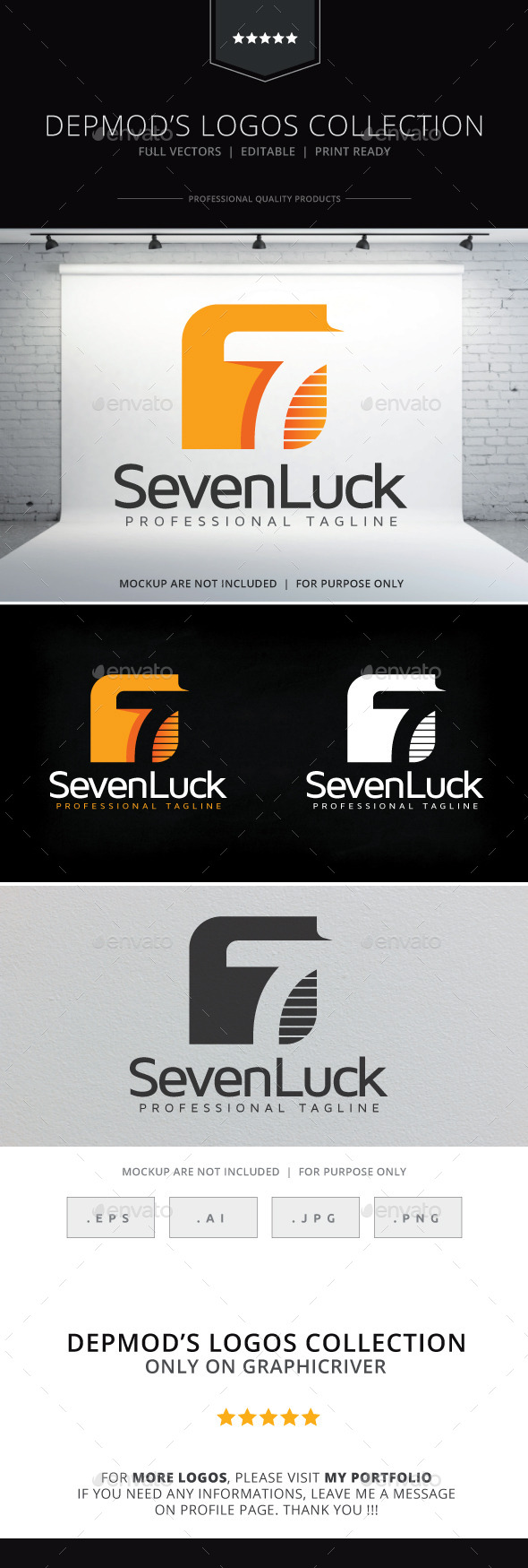 Seven Luck Logo - Numbers Logo Templates